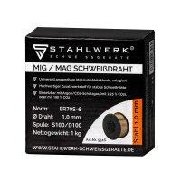 Hilo de soldadura MIG MAG ER70S-6 SG3, 1,0 mm S100/D100 carrete de 1 kg