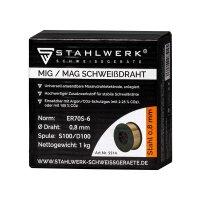 Hilo de soldadura MIG MAG ER70S-6 SG3, 0,8 mm S100/D100 carrete de 1 kg