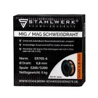Hilo de soldadura MIG MAG acero ER70S-6, SG3 carrete de 5 kg / 0,8 mm